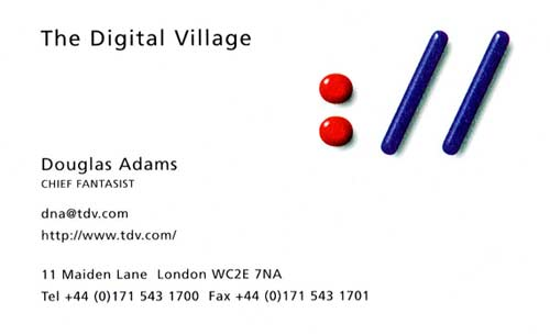 Douglas Adams visiting card